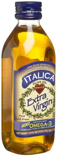 Italica Extra Virgin Olive Oil Enriched with Omega 3, 17-Ounce Bottles (Pack of 2)