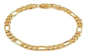 14k Italy Yellow Gold 3.2mm Figaro 3 + 1 Link Chain Bracelet 7