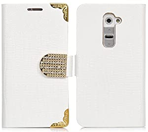myLife Shocking White Crocodile Diamond Series {Country Design} Faux Leather (Multipurpose - Card, Cash and ID Holder + Magnetic Closing) Folio Slimfold Wallet for the LG G2 Smartphone (External Textured Synthetic Leather with Magnetic Clip + Internal Secure Snap In Closure Hard Rubberized Bumper Holder)