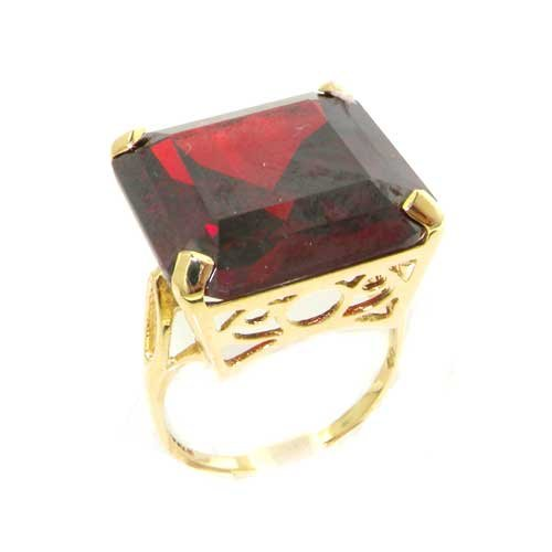 Luxury Solid 14K Yellow Gold Huge Heavy Square Octagon cut Synthetic Garnet Ring - Size 9.75 - Finger Sizes 5 to 12 Available - Perfect Gift for Birthday, Christmas, Valentines Day, Mothers Day, Mom, Mother, Grandmother, Daughter, Graduation, Bridesmaid.