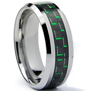 8MM Men's Tungsten Carbide Ring W/ BLACK & GREEN Carbon Fiber Inaly Size 9