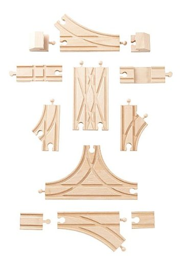 Visit Nuchi Wooden Railway / 12-piece Switch & Cross Track Expansion Set 1 Details