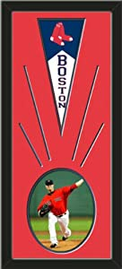 Boston Red Sox Wool Felt Mini Pennant & Jon Lester Photo - Framed With Team Color... by Art and More, Davenport, IA