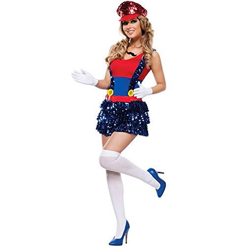 BestTime Cheerleading Uniform Cosplay Costume Sports Cheerleader Costumes(Red)