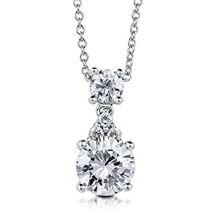 Bridesmaid Pendent: Katie's C.Z. Double Dangle Rhodium Plated Sterling Silver Pendent