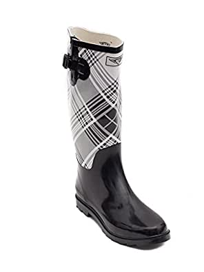 Women's Flat Wellies Rubber Rain & Snow Boots RainBoots (5, Black/White Plaid)