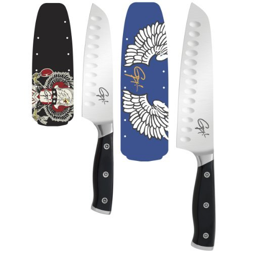 Guy Fieri Gourmet 2-Piece Triple Riveted Santoku Knife Set Home & Kitchen