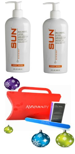 Sun x2 Giesee Dark Sunsation Self-Tanner Lotion Very Dark 8oz (20029) + Aviva Red Nail kit