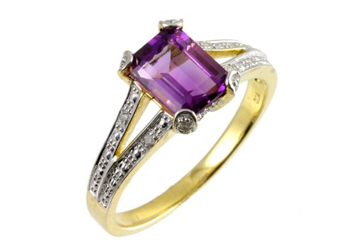 9ct Yellow Gold Single-Stone Amethyst with Diamond Set Collette and Shoulders Size V Ladies' Ring