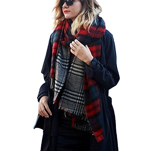 Womens Winter Long Soft Warm Tartan Check Plaid Striped Scarve Solid Pashmina Scarf Wrap Valentine's Gifts (Red Checks