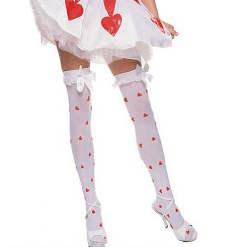 Muka Opaque White Red Heart On Leg Fashion Thigh High Stockings With Satin Bow