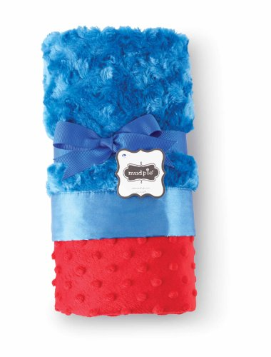 Mud Pie Minky Blanket, Red/Blue