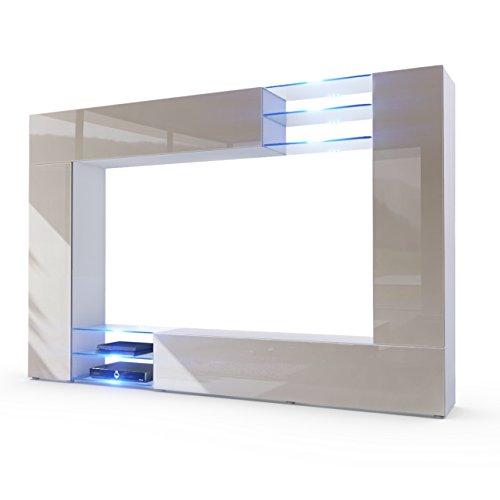 Wohnwand-Anbauwand-Mirage-Korpus-in-Wei-matt-Fronten-in-Sandgrau-Hochglanz-inkl-LED-Beleuchtung