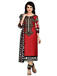 Shonaya Red Colour Poly Cotton Printed Unstitched Dress Material