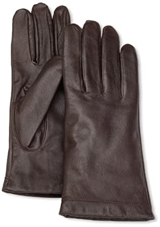 Isotoner Women's Leather 2.5 Button Slip-On Glove, Brown, 8.5/9