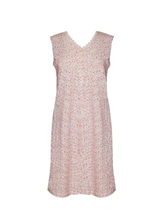 Sleeveless Cotton Gown w/ Petite Lace Trim and Front Button Neckline Placket, Petite Floral, Small
