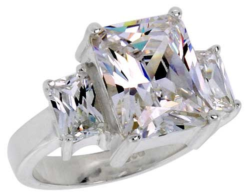 Sterling Silver 4.0 Carat Size Emerald Cut Cubic Zirconia Solitaire Bridal Ring (Available in Sizes 6 to 10) size 9