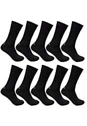 Bonjour Mens Black Odour free Plain Cotton 10 Pair Socks _BS201-PO10-Black