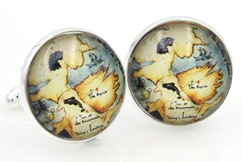 Game of Thrones World Map Globe - Men's Cufflinks Cuff Links - Steampunk st3