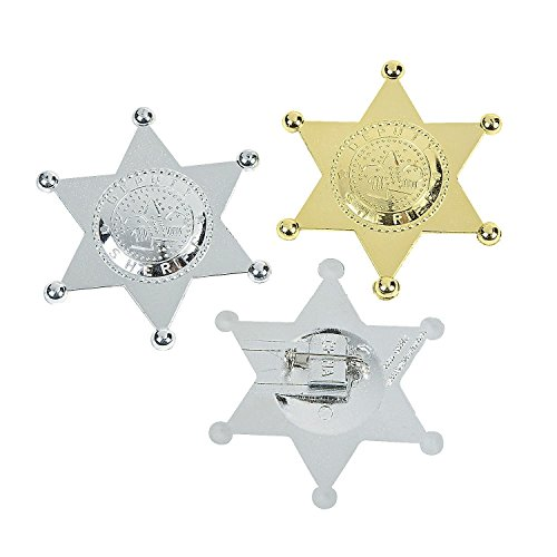 Deputy Sheriff's Badges (12 Pack) Plastic. Gold & Silver.