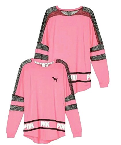 Victoria's Secret Pink Graphic Mesh Varsity Crew Neck Sweatshirt Coral Pink (Medium)