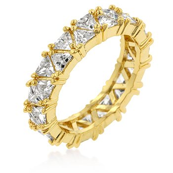 14k Gold Bonded Eternity Ring Featuring Pave Trillion Cut Clear CZs - Size: 5-10, 7