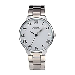 Brief Fashion SINOBI Lover's Wrist Watch Stainless Steel Band Man White