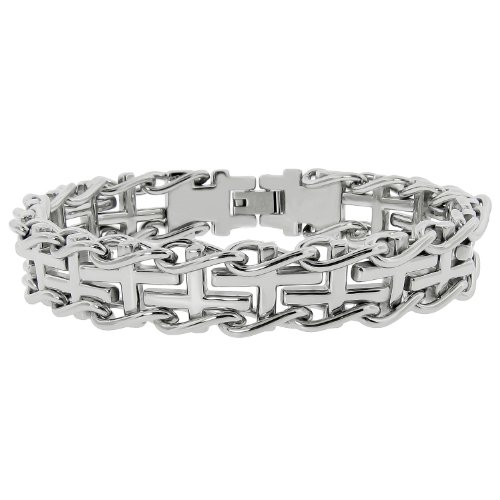 Men's Stainless Steel Railroad with Cross Insets Bracelet, 8.5