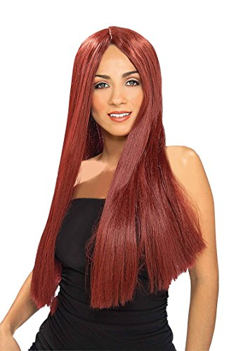 Forum Novelties Women's Extra Long Straight Wig, Burgundy, One Size