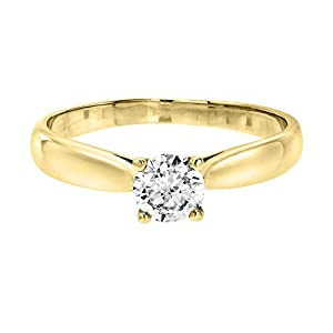 IGI Certified 14k yellow-gold Round Cut Diamond Engagement Ring (0.41 cttw, I Color, VS1 Clarity)