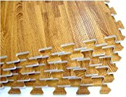 100 SQFT We Sell Mats Wood Grain Interlocking Foam Anti Fatigue Flooring 2'x2' Tiles, Oak