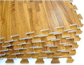 24 SQFT We Sell Mats Wood Grain Interlocking Foam Anti Fatigue Flooring 2'x2' Tiles, Oak