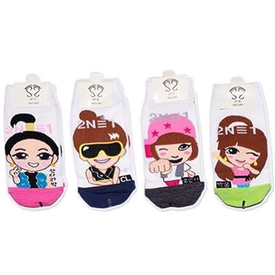 2ne1 Fire Kpop Socks 4 Pairs Featuring Park Bom, Sandara Park, CL & Minji