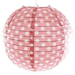 PrettyurParty Baby Pink Polka Dot Round Paper lamps 12