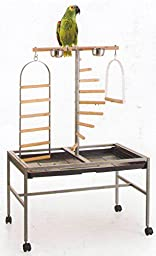 NEW Large Wrought Iron Parrot Bird Play Stand Play Gym Play Ground Rolling Stand *Black Vein*