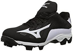Mizuno 9 Spike ADV YTH FRHSE 8 BK-WH Youth Molded Cleat (Little Kid/Big Kid), Black/White, 5 M US Big Kid