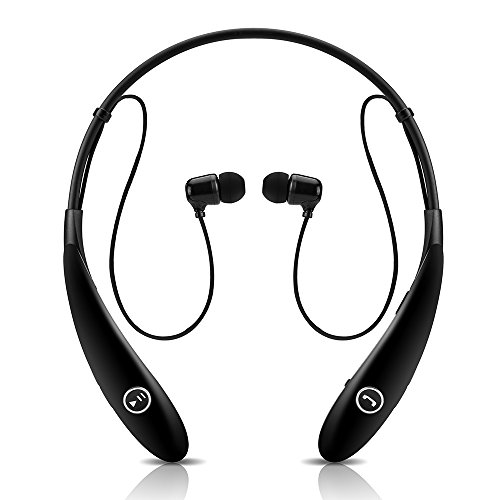 GRDE Wireless Stereo Bluetooth Neckband Hands-Free Headsets Headphones for Smartphones & Tablets - Black