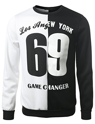 Urbancrews Mens Hipster Hip Hop 69 Los Angeles Ny Sweatshirt Pullover Large