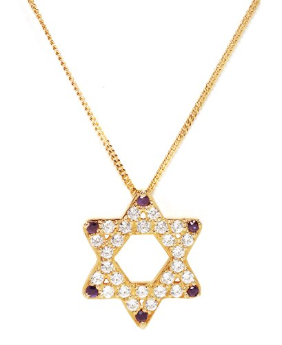 Sterling Silver Symbols of Hope & Protection Necklace Pendant Judaism 18k Yellew Gold Plated Cz & Sapphire