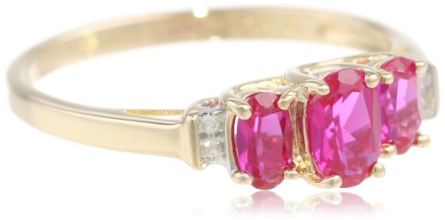 10k Yellow Gold Birthstone 3-Stone with Diamond Accent Ring