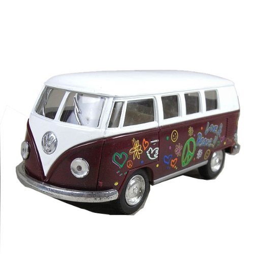 "5"" Classic 1962 Volkswagen Van with Decal 1:32 Scale (Color: Maroon)"