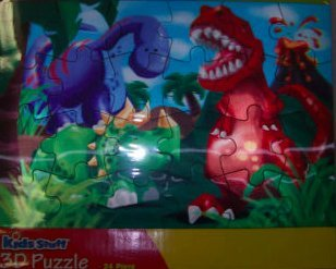 Kids Stuff 3D Puzzle- 24 Pieces (Set of 2) Dinosaur & Construction - 1