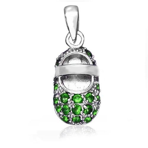 Bling Jewelry May Birthstone Baby Shoe Charm Pendant Green Emerald CZ