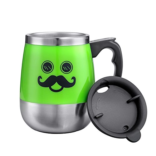 LEADNOVO Self Stirring Coffee Mug Electric Stir Stainless Steel Automatic Self Mixing Cup for Morning Office Travelling 450ml/15.2oz (Green)