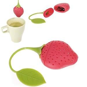Fraise conception silicone Infuseur à thé Passoire - Rouge et Vert / Convient pour une utilisation en Théière, tasse de thé et Plus - Un cadeau merveilleux pour un buveur de thé Avid