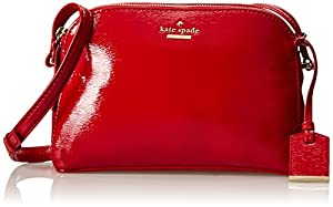 kate spade new york Cedar Street Patent Double Zip Mandy Cross Body Bag,Dynasty Red,One Size
