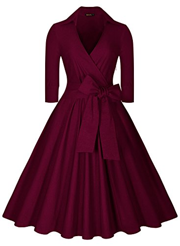 Miusol Women's Deep-V Neck Half Sleeve Bow Belt Vintage Classical Casual Swing Dress (Large, Wine)