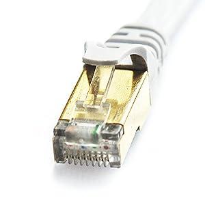 Vandesail ® Cat7 Câble Ethernet RJ45 Plaquée Or Câble Raccordement Ethernet Réseau- Qualité Professionnelle -Câble Patch / Ethernet / Modem / Routeur / LAN (05m, Blanc Oblat Blindés)