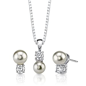 Pure Bliss: Sterling Silver Rhodium Nickel Finish Celebrity Inspired Bridal Jewelry Stud Earring Pendant Set with Faux Pearl and CZ