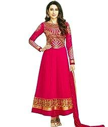 Maruti Creation Women's Georgette Semi-stitched Anarkali Suit Dress Material (MC1019_FREE_SIZE_GAJARI/RED)